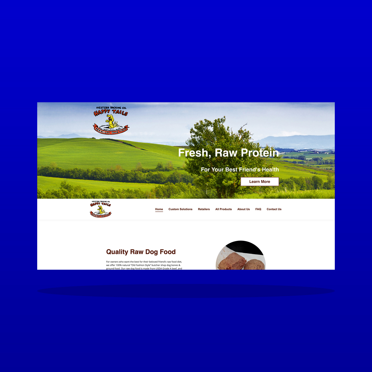 Happy Tails Raw Dog Food Website Design by Clarity Business Design & Erik Soper