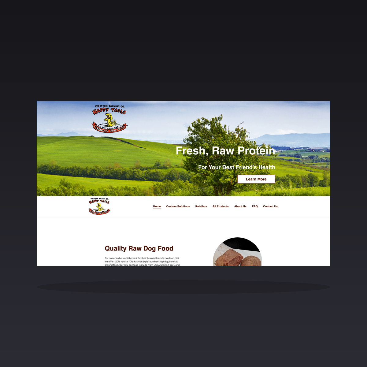 Happy Tails Custom Raw Dog Food (Tumwater, WA) website design by Clarity