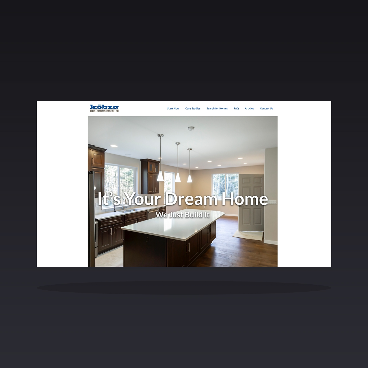 Kobza Home Builders (Lacey, WA) website design by Clarity