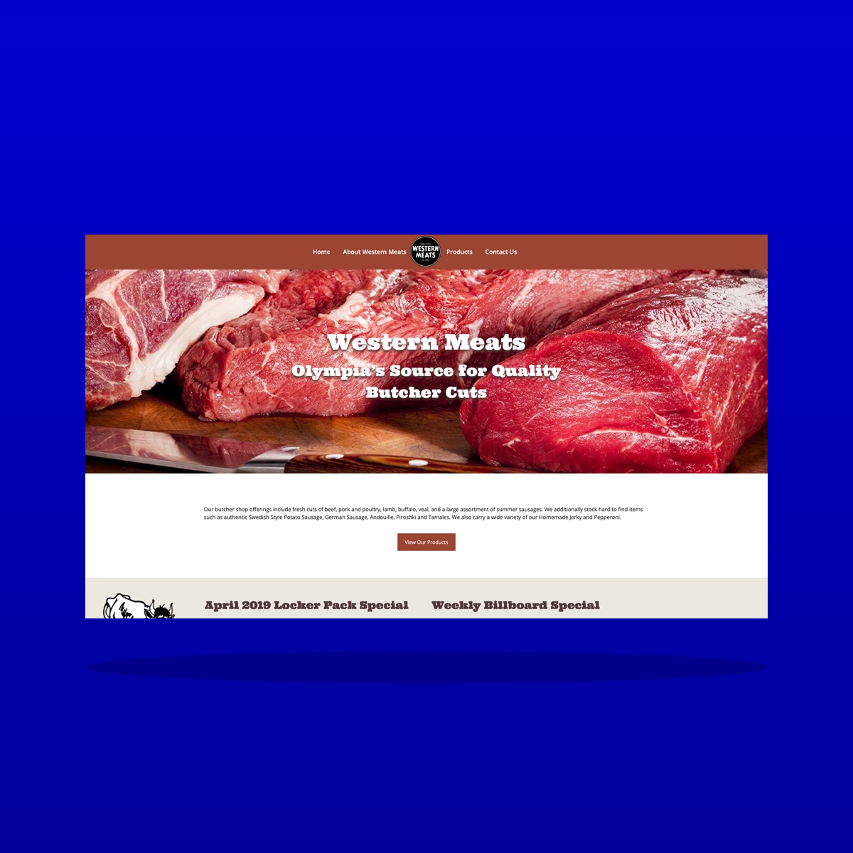 Western Meats (Tumwater, WA) website design by Clarity